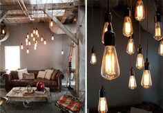How cool are these pendant lamps in this living room?! #industrial