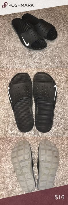 Nike Slides Worn a lot, but still have a lot of life left in them. Selling because I don't wear them enough. Have the normal wear and tear but nothing major. Nike Shoes Athletic Shoes