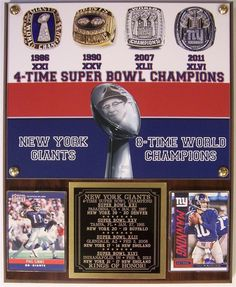 New York Giants Rings of Honor 4-Time Super Bowl Champions Plaque Simms-Manning #RPSportsPlaques #NewYorkGiants