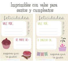 Imprimibles con vales de regalo para cumpleaños: http://cortarcoserycrear.blogspot.com/2014/03/imprimibles-vales-cumple.html