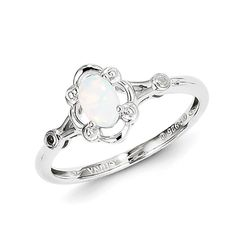 Rhodium plated sterling silver ring features oval created opal and two genuine diamond accents. Sterling Silver Opal Ring, Ring Crafts, Opal Rings, Fancy, Engagement Rings, Diamond, Pendant, Create, Jewelry