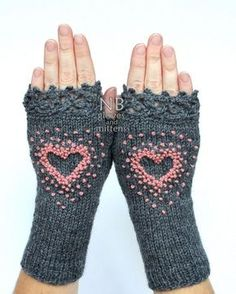 Pink Heart Gloves Gray Knitted Fingerless Gloves Embroidered Heart Gloves & Mittens Gift Ideas Dark Grey Rose Pink Gift For Her Diy Tricot Crochet, Crochet Gloves Pattern, Crochet Shoes, Fingerless Gloves Knitted, Knit Mittens, Wrist Warmers, Hand Warmers, Knitting Accessories, Pink Gifts