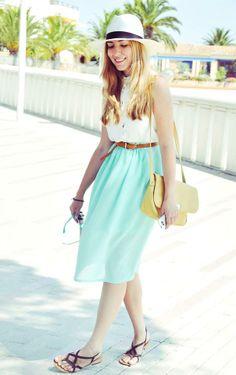 Shop this look on Kaleidoscope (hat, top, belt, skirt, purse, sunglasses, sandals)  http://kalei.do/VwLLyRTRqifEUe2q