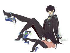 Bayonetta and Kirby ->Kirby's got some nice lady legs...