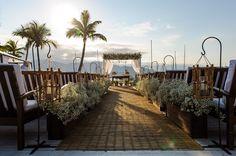 Vista da cerimônia de casamento ao ar livre