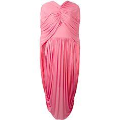 Céline - draped layer dress - women - Viscose - 38 (€2.145) ❤ liked on Polyvore featuring dresses, rosette dress, rose dress, double layer dress, drape dress and viscose dress
