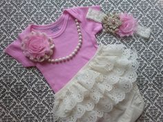 Baby Girl Take Home Outfit Onesie Headband by LeopardLaceLove, $35.00