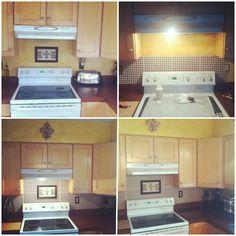 DIY easy kitchen backsplash. Scrapbook paper and mod podge! Love the way it turned out.