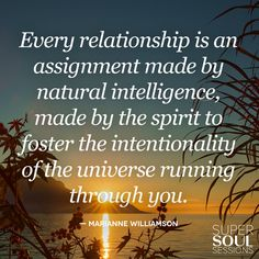 "Quote about Meaningful Relationships - Marianne Williamson    ""Every relationship is an assignment made by natural intelligence, made by the spirit to foster the intentionality of the universe running through you."