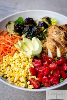 Rainbow Salad with Balsamic Roasted Brussels & Paleo Almond Crusted Chicken. [Minus chicken for me!] :))
