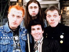 The Young Ones Cult favorite British TV show about 4 very different flat mates. It was played on MTV, as I recall, and then the early days of Comedy Central. British Sitcoms, British Comedy, English Comedy, Neil Young, Humor Ingles, Rik Mayall, We Will Rock You, Old Tv Shows, Vintage Tv