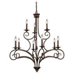 Cast a warm glow in your entryway or dining room with this elegant chandelier, showcasing a twisted center column and weathered bronze finish.