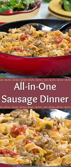 All-in-One Sausage Dinner Here's an all-in-one skillet meal that your family is sure to love! Our All-in-One Sausage Dinner is made with your favorite Italian sausage, along with some veggies, and yummy egg noodles. Everything cooks together in a homemade Ground Italian Sausage Recipes, Sausage Recipes For Dinner, Sour Cream Recipes Dinner, Recipe With Italian Sausage, Sausage Meals, Ground Sausage, Italian Sausage Casserole, Healthy Sausage Recipes, Sausage Pasta