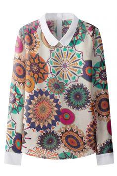 Lapel Beautiful Print Chiffon Long Sleeve Blouse