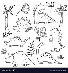 Cute dinosaurs and tropic plants Funny cartoon dino collection Hand drawn vector… – Holz Doodle Drawings, Easy Drawings, Doodle Illustrations, Free Vector Art, Free Vector Images, Map Vector, Kids Vector, Doodles Bonitos, Tier Doodles