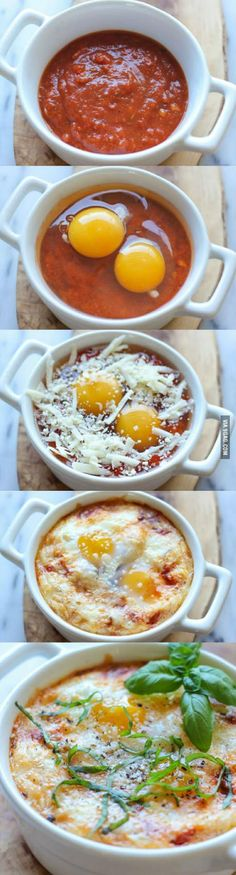 Italian Baked Eggs. With some garlic breads and bacons along, there we have a perfect simple lazy couple brunch!