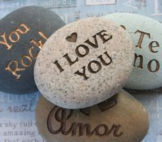 Message stone - I Love You and more. - Say It on the Rock - home decor, paperweight - custom stone engraving with your words Love You More, My Love, Engraved Gifts, Messages, Rock Crafts, Stone Painting, Rock Painting, Stone Carving, Gravure
