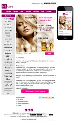 Now free with every order! Kérastase Elixir Ultime, 30 ml mask worth € gift! Mail Marketing, Revlon, Loreal, Hair Loss, Hair Care, Perfume, Gifts, Free, Presents