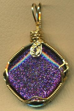 Purple Dichroic Fused Glass Brass Wire Wrap Pendant