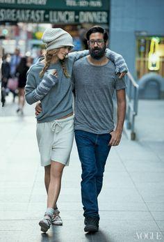 model Raquel Zimmermanna & designer Greg Chait.  LOVE her look!