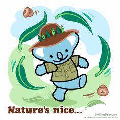 Natures Nice So This Koala Bear's Going Bush Animated GIF version on blog here: http://smilingbear.com/blog/natures-nice-so-this-koala-bears-going-bush  #GoingBush #BushWalking #Outback #smilingbear #smilemore #koala #koalabear #bear #smile #smiling #happy #cute #kawaii #australia #aussie #sydney #beach #manga #art #design #illustration #cartoon #characterdesign #fun #GIF #otaku #plush
