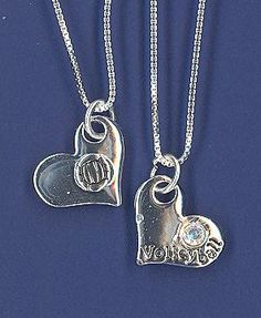 Volleyball Heart necklace, another unique piece of volleyball jewelry by GymRats Volleyball necklaces, bracelets, and earrings. Volleyball Necklace, Volleyball Outfits, Clothing Co, Anklets, Jewelry Gifts, Pendant Necklace, Earrings, Silver, Heart
