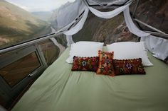 Skylodge Adventure Suites have been housing intrepid travelers since 2013 in these hanging bedrooms suspended on a rock face 1,312 feet above the Sacred Valley in Cusco, Peru