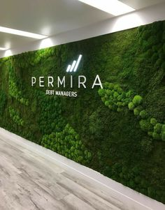 Moss Wall and Moss Signage Office Signage, Office Entrance, Entrance Design, Spa Design, Patio Design, Wall Design, Office Interior Design, Office Interiors, Outdoor Restaurant Design