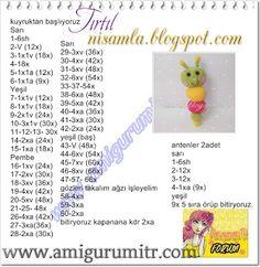 nisamla: Amigurumi Tırtıl Yapılışı Crochet Bear, Crochet Toys, Free Crochet, Crochet Doll Pattern, Crochet Patterns Amigurumi, Crochet Patron, Doll Patterns, Free Pattern, Charts