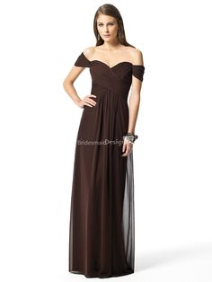 #vintage #chocolate off the shoulder empire sweetheart sheath floor length pleated #bridesmaid formal #dress.US$ 396.00 off US$215.00