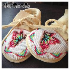 Creative Native Boutique: Custom Baby Moccasins with Butterfly Design