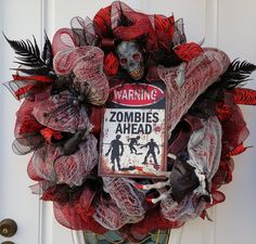 Zombie Mesh Wreath Halloween Wreath Scary by ProudToHangWreaths