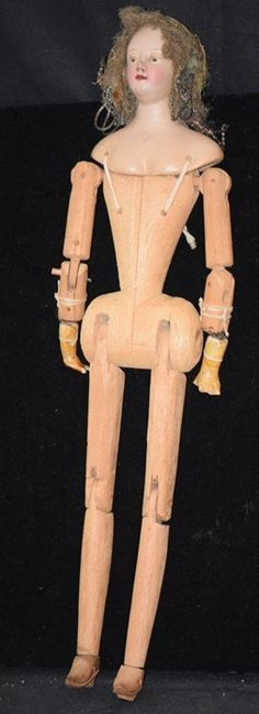 Antique Doll Creche Lady W/ Jointed Wood Body from oldeclectics on Ruby Lane
