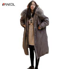 Vancol 2016 new Female X Long Cotton women Coat ladies winter coats fur collar Plus Size jackets for women For - 20 centigrade