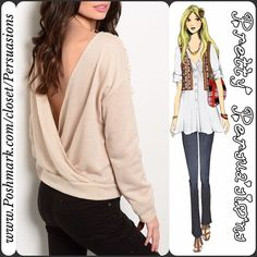 """NWT Cream Sand Crochet Trim Plunging Back Sweater NWT Cream Sand Crochet Trim Plunging Back Sweater   Available in Sizes: S, M Length: 22""""   Color: Cream-Sand  Fabric Content: 60% Polyester 40% Cotton   Features:  • crochet yoke  • long sleeves  • ribbed trim  • plunging back (gorgeous)!!!   Also available in heather gray in a separate listing   Bundle discounts available  No pp or trades Pretty Persuasions Sweaters"""