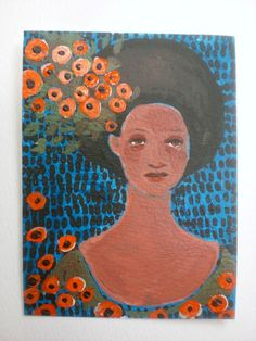Lady of Flowers or She Becomes What She Believes by rowenamurillo. tiny painting