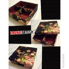 Caixa Rosas com divisórias, ótima opção pra guardar suas bijus!  www.munayartes.com