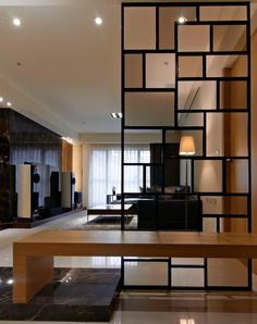 Modern room partitions have many uses. They can divide a large room into smaller areas, separate a room, enhance your … Mid Century Modern Living Room, Living Room Modern, Living Room Designs, Living Rooms, Living Room Partition, Room Partition Designs, Partition Ideas, Wall Partition, Home Interior