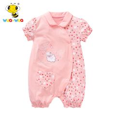 WUAWUA Baby Girl Cotton Rompers Cartoon Design Newborn Clothing Star Pattern Toddler Clothes Summer Infantile Jumpsuits