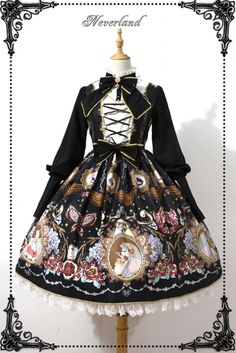 Neverland Midnight Opera House Stand Collar Long Sleeves Classic Gothic Lolita OP Dress 3 Colors - My Lolita Shop Pretty Outfits, Pretty Dresses, Beautiful Outfits, Cute Outfits, Harajuku Fashion, Kawaii Fashion, Lolita Fashion, Old Fashion Dresses, Fashion Outfits
