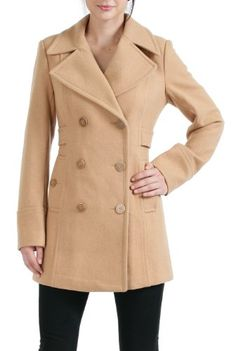 BGSD Women`s Empire Seamed Wool Blend Pea Coat in Black or Camel ♥