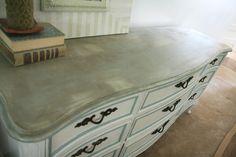 beautiful white & grey/aqua refinished dresser.