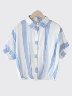 Vertical Striped Dolman Sleeve Blouse - Blue — 0.00 € -----------color: Blue size: one-size