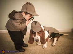 Holmes and Watson costume creator:I created these old school detective costumes for my son Silas and my dog Milo. They were pretty cheap to make. I just had to pay for the fabric and a few details, such as a magnifying glass, wing tip shoes and a pocket watch.