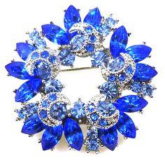 Swarovski Crystal Floral Brooch (Silver&Sapphire) z6wlsL