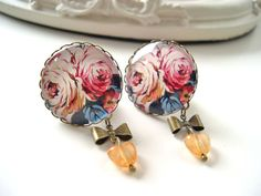 Flower cabochon dangle plugs