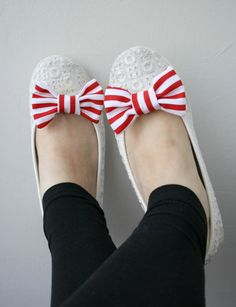 Red and White Striped Cotton Bow Shoe Clips  2 PCS by AdgLaMode, $10.00
