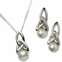 Silver Trinity Pearl Jewelry, Necklace and Earrings, at Creative Irish Gifts.