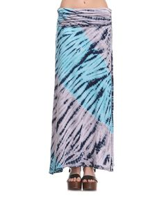 Look at this #zulilyfind! Urban X Aqua & Gray Shirred Maxi Skirt by Urban X #zulilyfinds