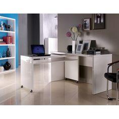 Superbe ensemble bureau enpanneau MDF.Ce bureau design trouvera sa place aussi bien dans un bureau que dans une chambre. De coloris blanc brillant, il offr...
